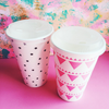 16 oz Paper Cups - Pink - 8 cups