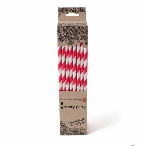 Paper Straws - Red - 50ct