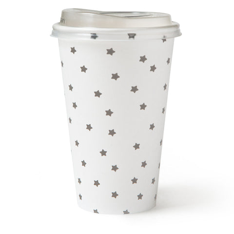 16 oz To-Go Paper Hot Cup & Lid - Grey Star - 12 cups and lids