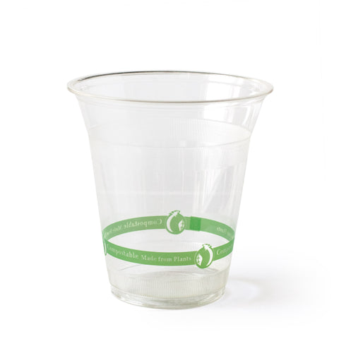 12 oz Clear Cups - Green Stripe - 50 cups