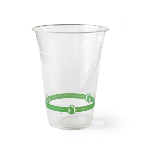 16 oz Clear Cups - Green Stripe - 50 cups