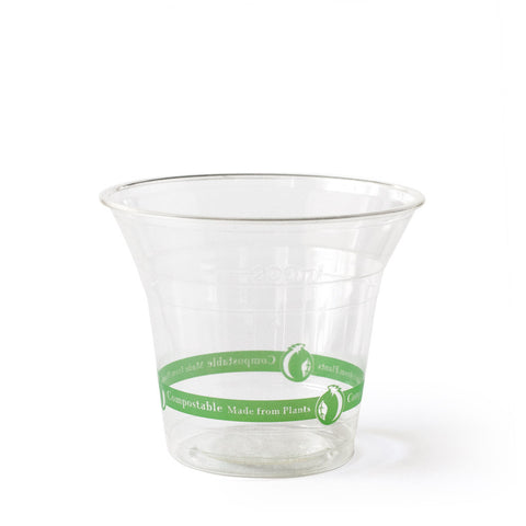 9 oz Clear Cups - Green Stripe - 50 cups