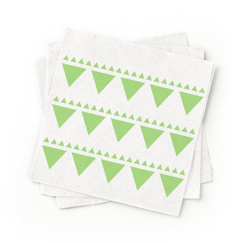 Cocktail Napkins - Green Triangle