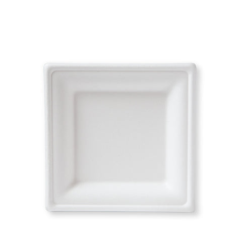 "6"" Square Bagasse Dessert Plate - 500 plates"