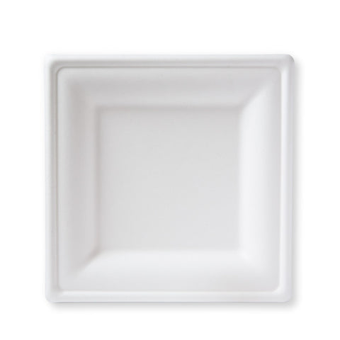 "8"" Square Bagasse Salad Plate - 50 plates"