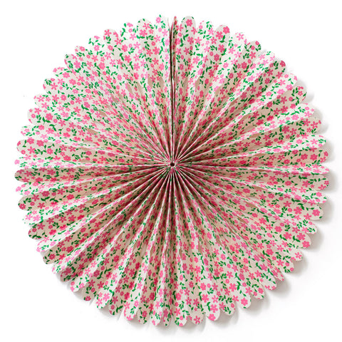 Large Lokta Paper Rosette - Pink and Green Flowers