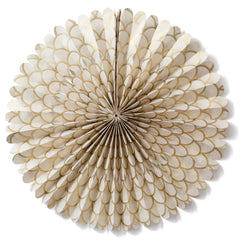 Large Lokta Paper Rosette - Gold Scallop on Cream
