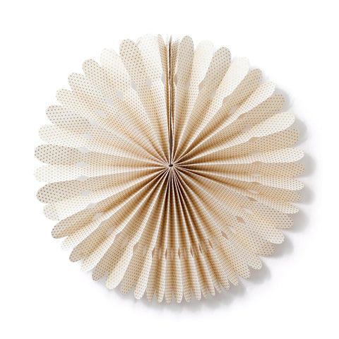 Small Lokta Paper Rosette - Cream with Gold Dots
