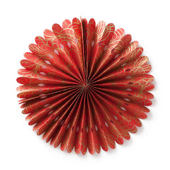 Small Lokta Paper Rosette - Red with Gold Swirls