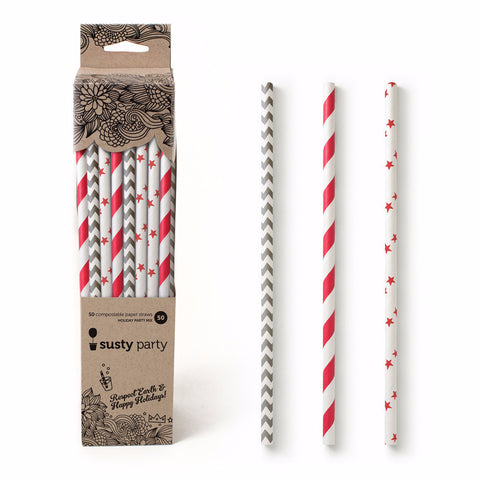 Paper Straws - Winter Mix - 50 straws