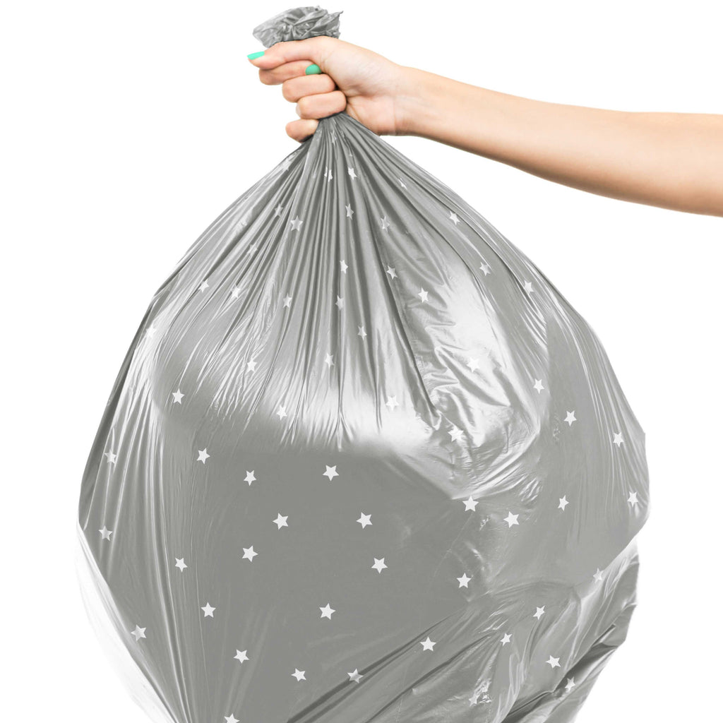 13 Gallon Tall Kitchen Garbage Bag - Grey with White Stars   Susty Party