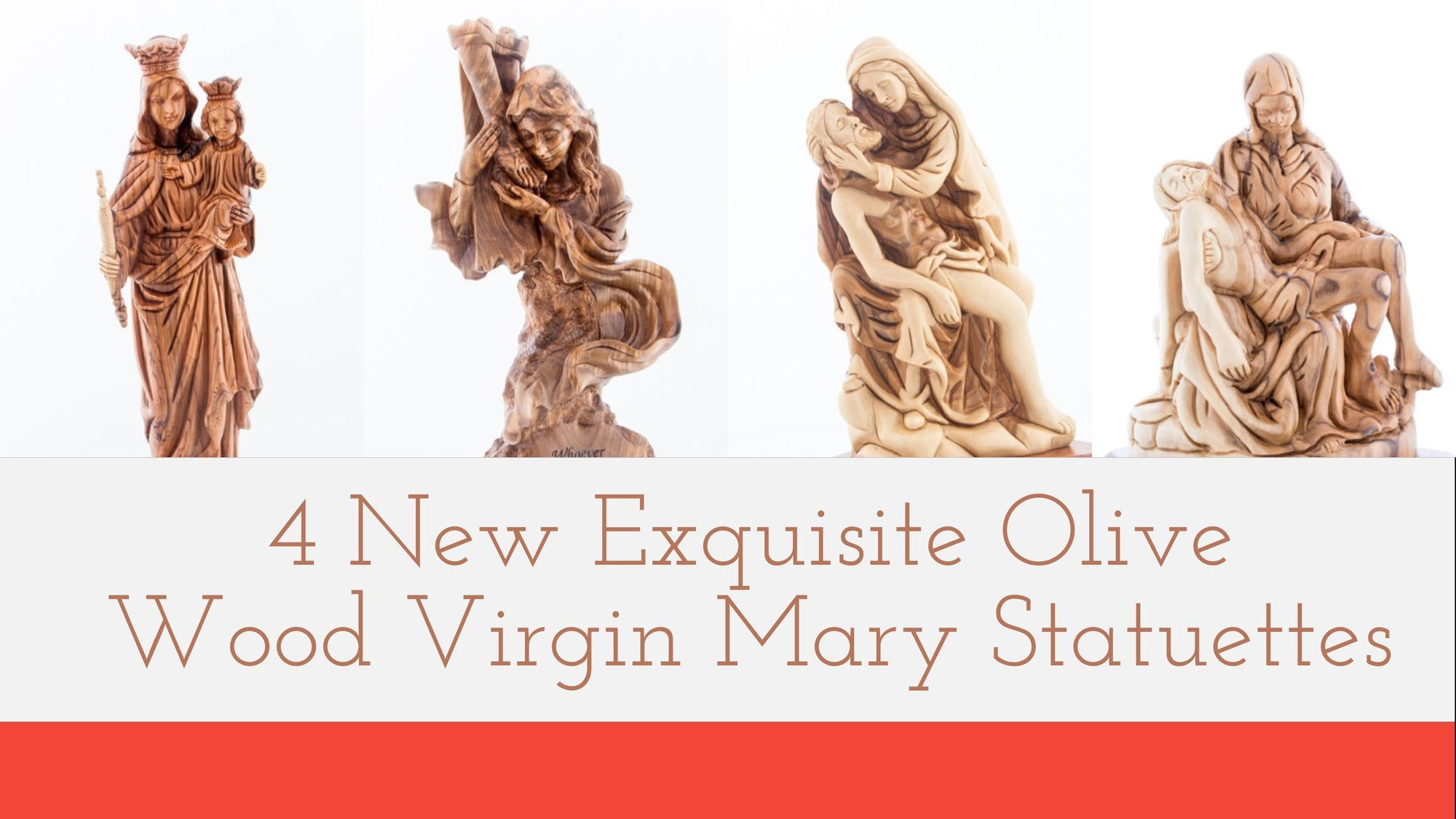 4 New Exquisite Olive Wood Virgin Mary Statues