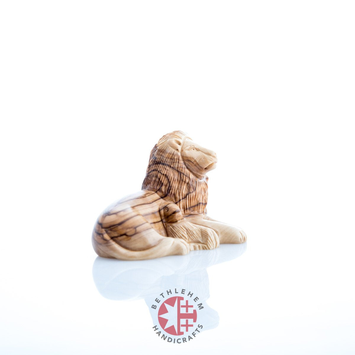 Olive Wood Lion with a Lamb
