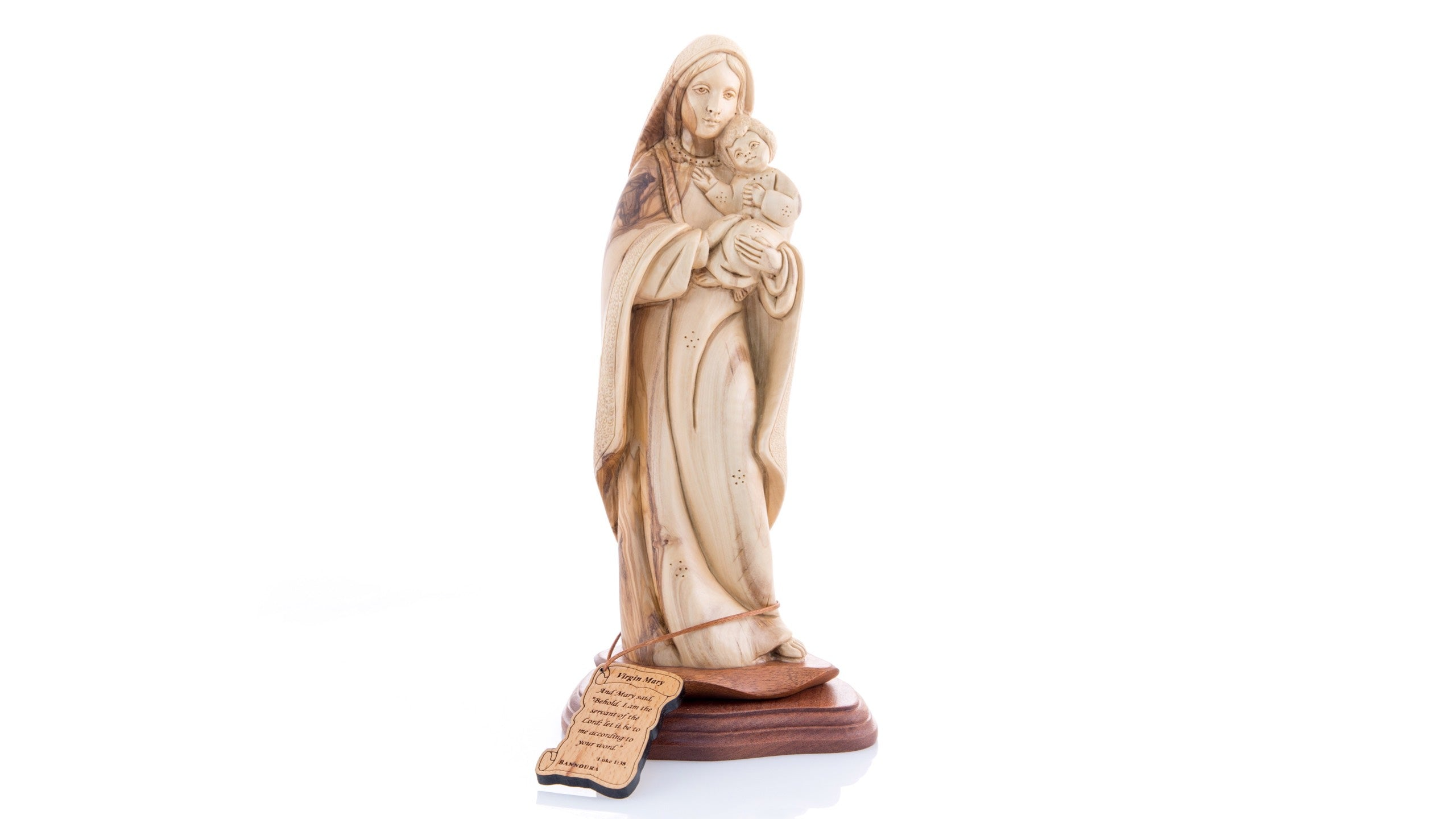 Hand Carved Olive Wood Statue of the Blessed Mother with the Holy Child