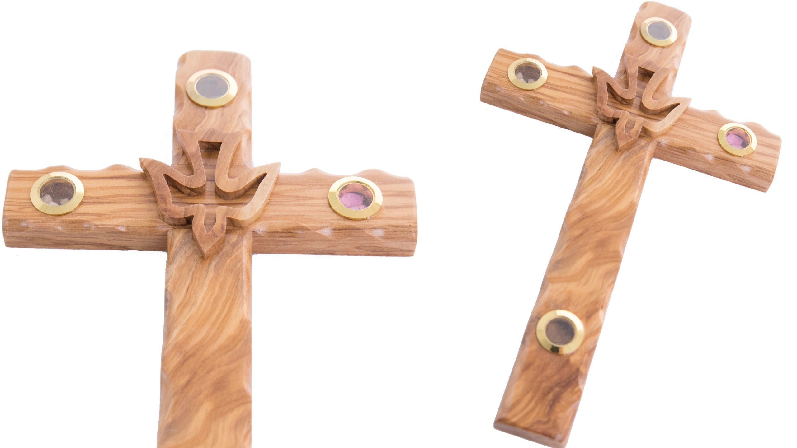 Wood Carved Cross with the Holy Spirit