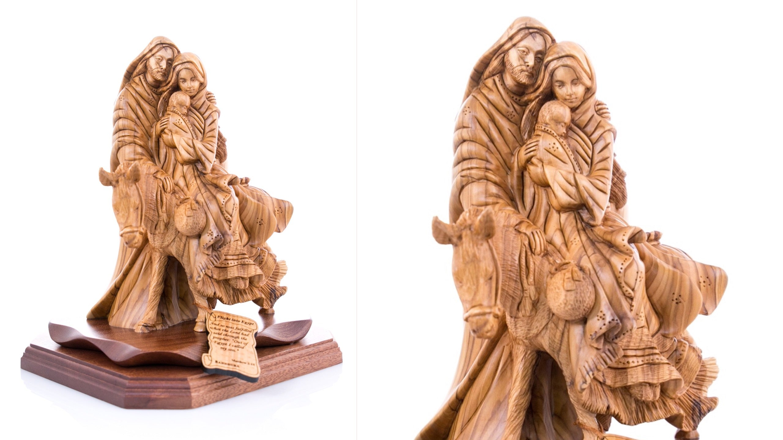 The Flight into Egypt One Piece Olive Wood Statue