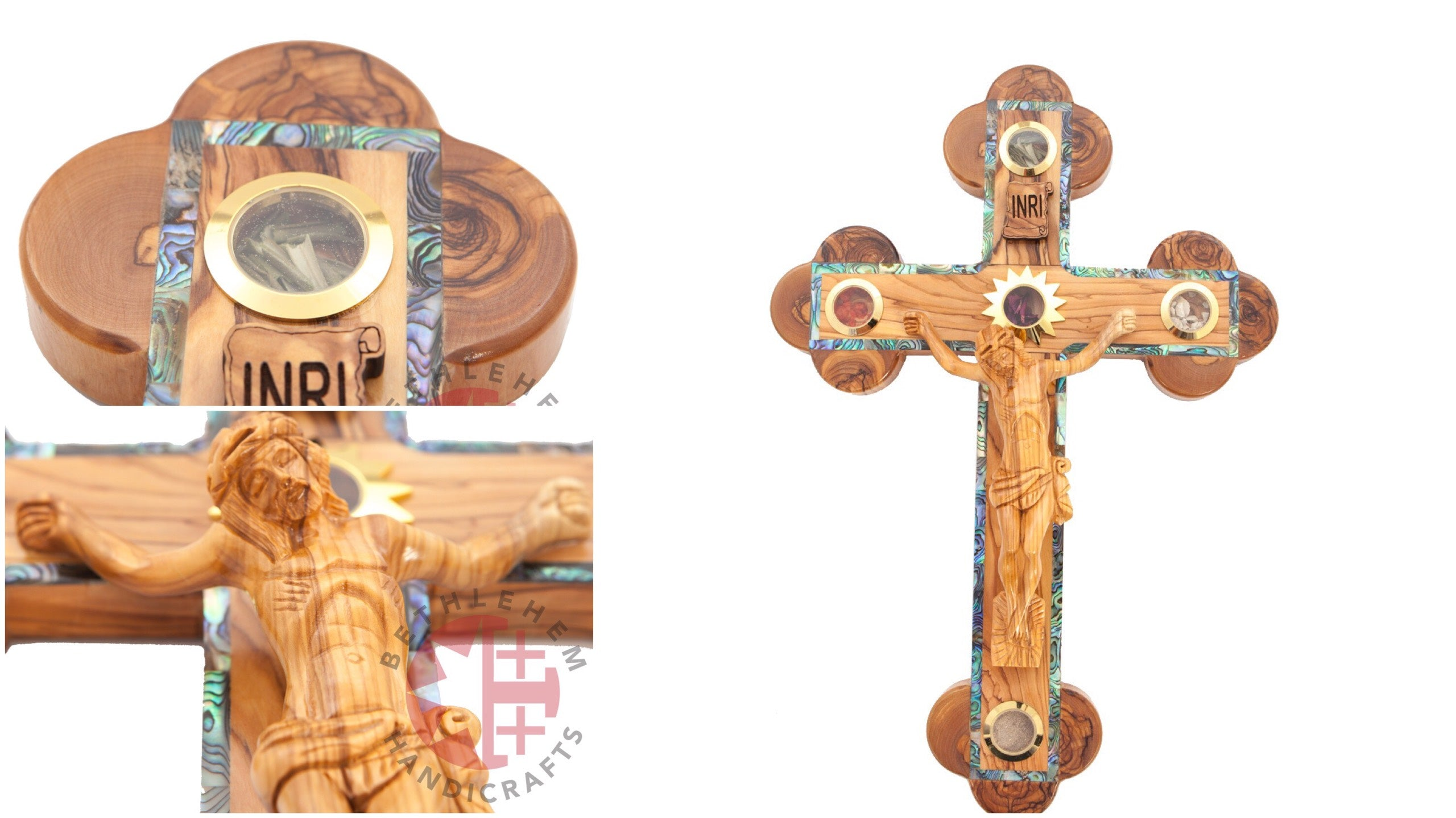 Abalone Olive Wood Wall Crucifix with Hand-Carved Corpse and 5 Holy Land Essences