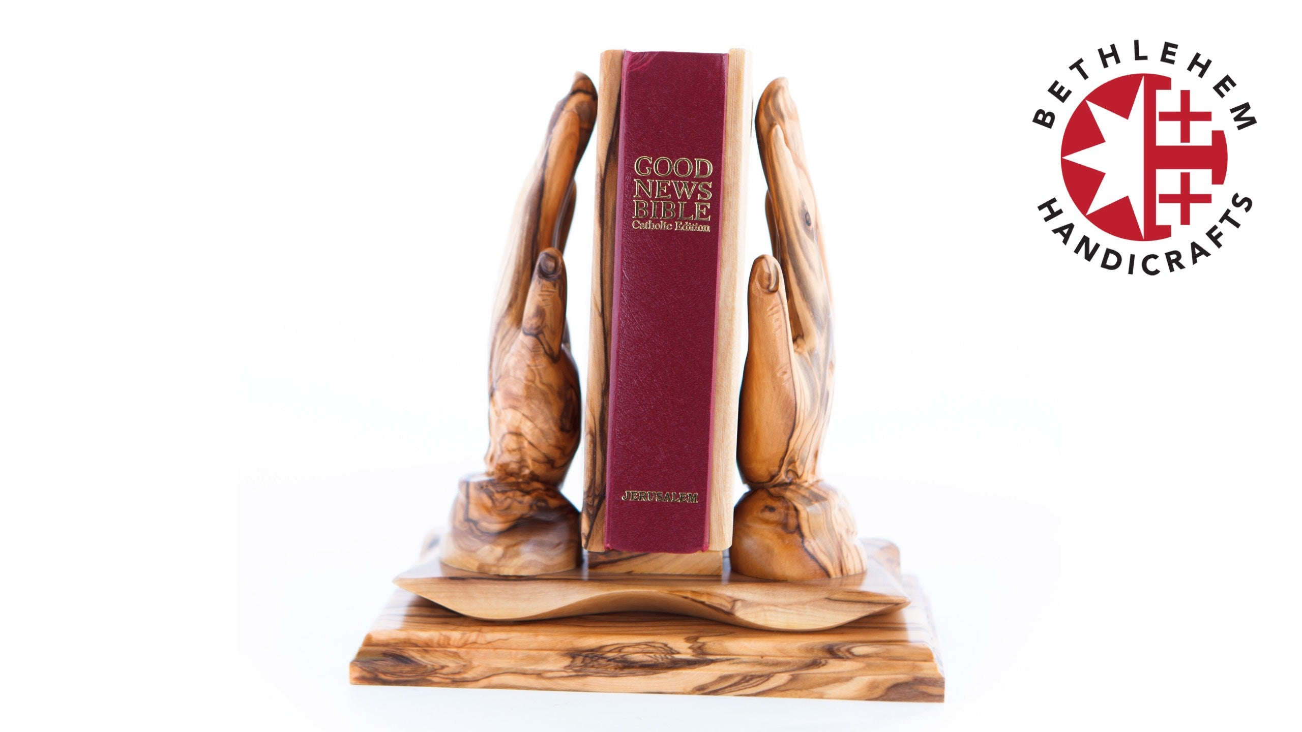 Olive Wood Praying Hands Holding the Bible (Bible Included)