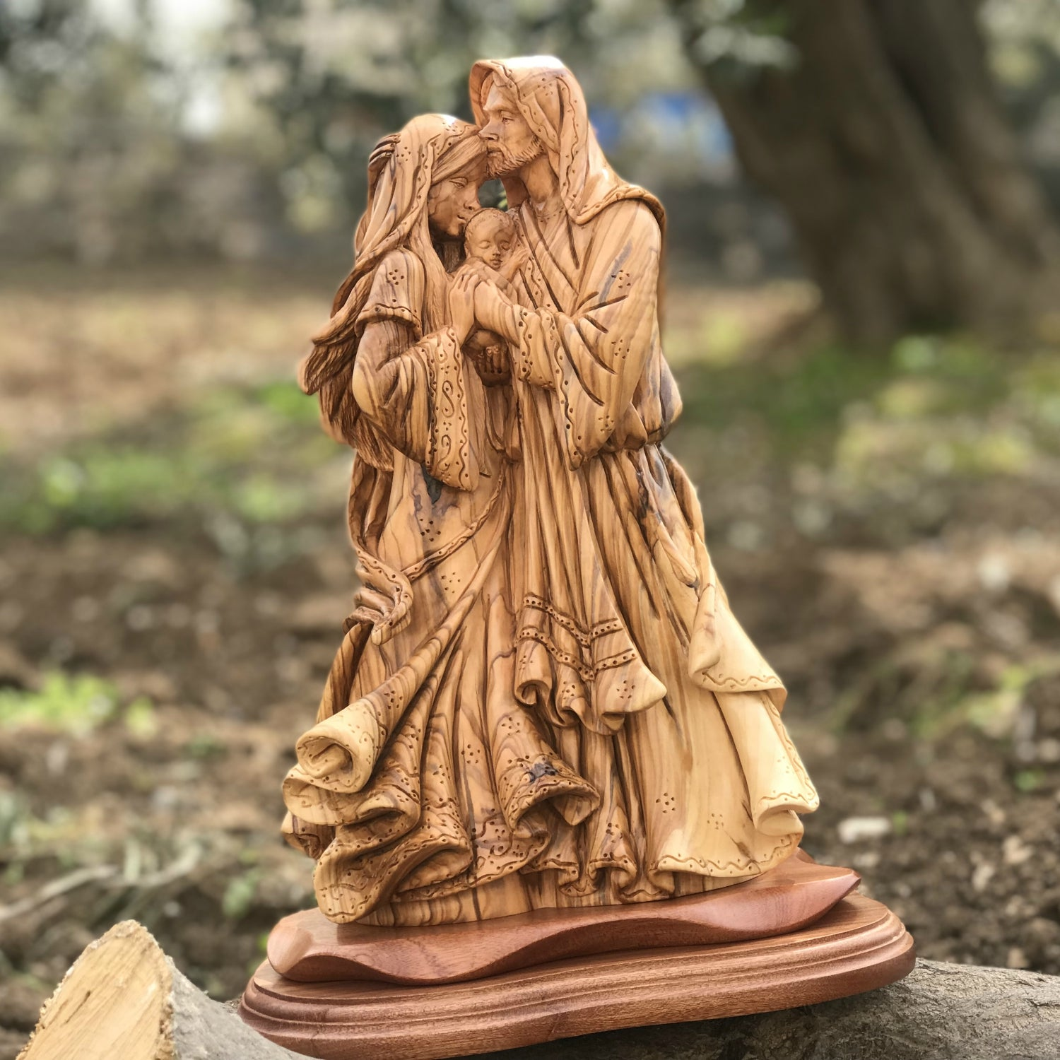 Olive Wood Holy Family Statues