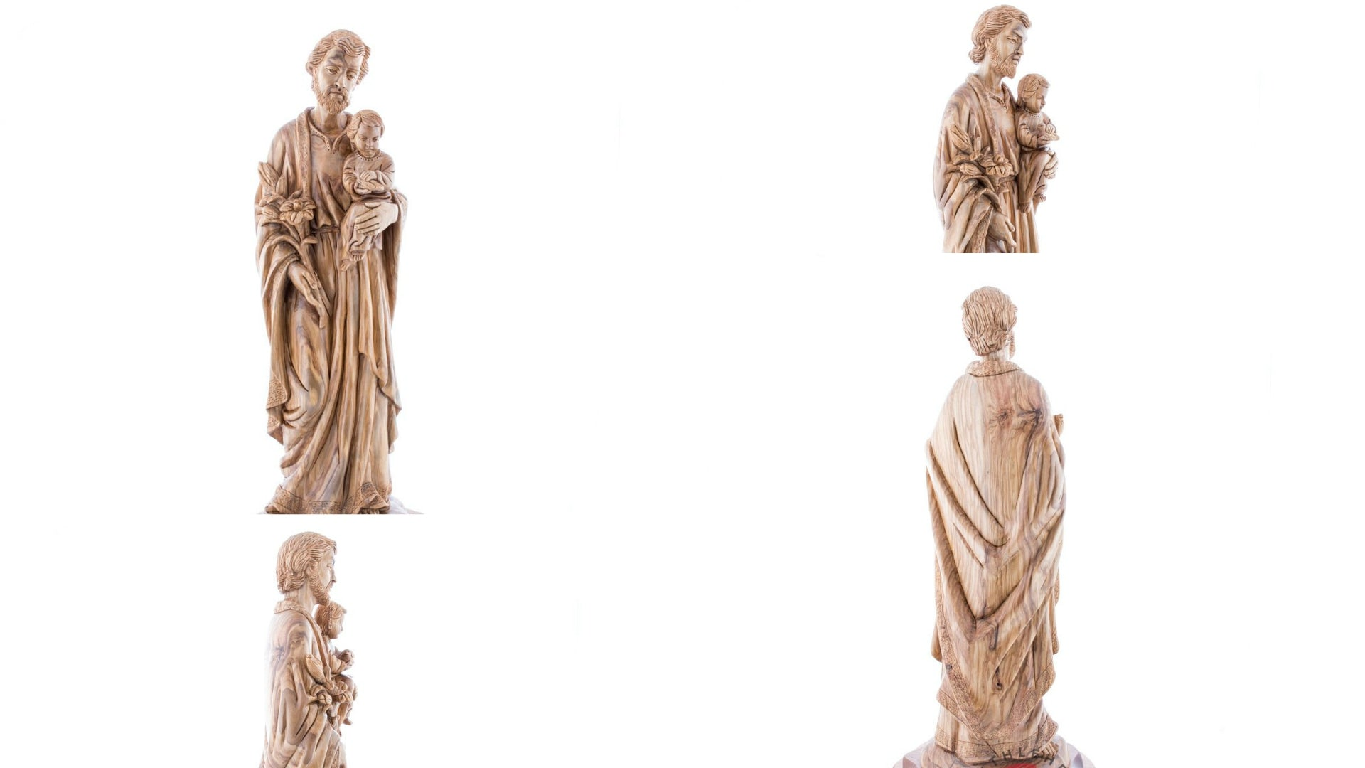 Olive Wood Statue of Saint Joseph Holding Baby Jesus with A Lily