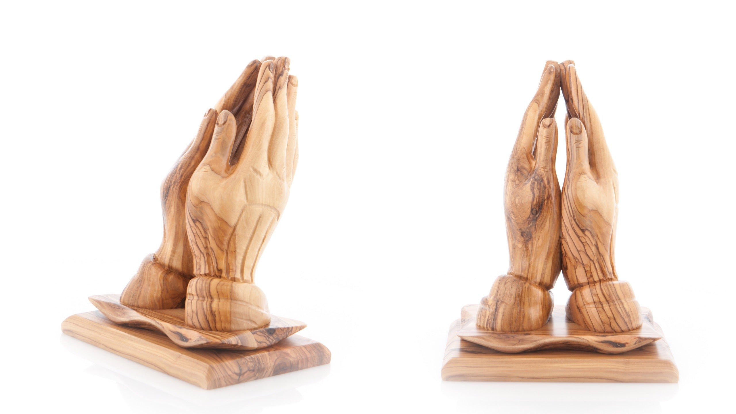 Olive Wood Praying Hands Statue on Olive Wood Base