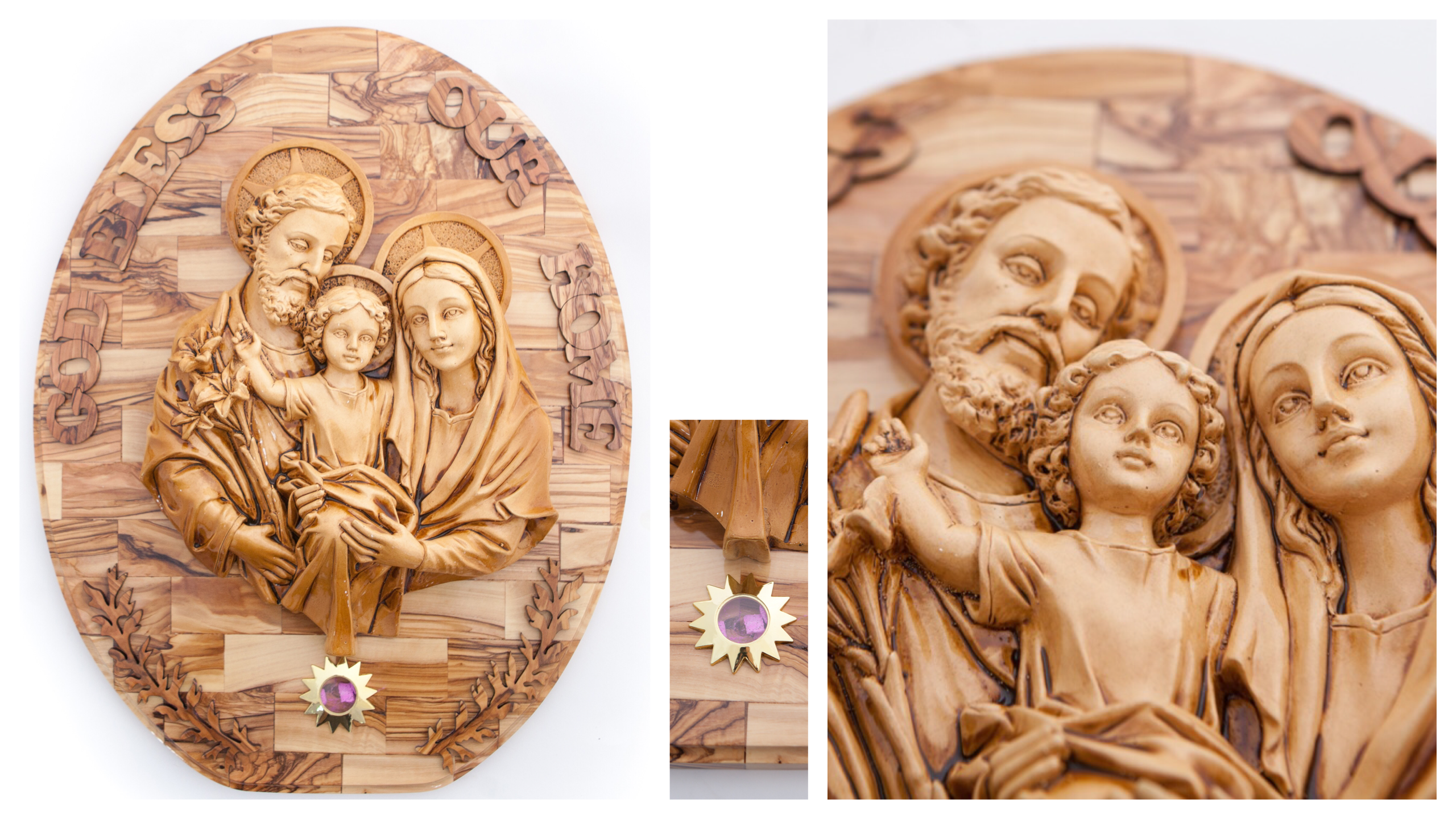 Olive Wood Holy Family Wall Hanging Plaque with Holy Incense