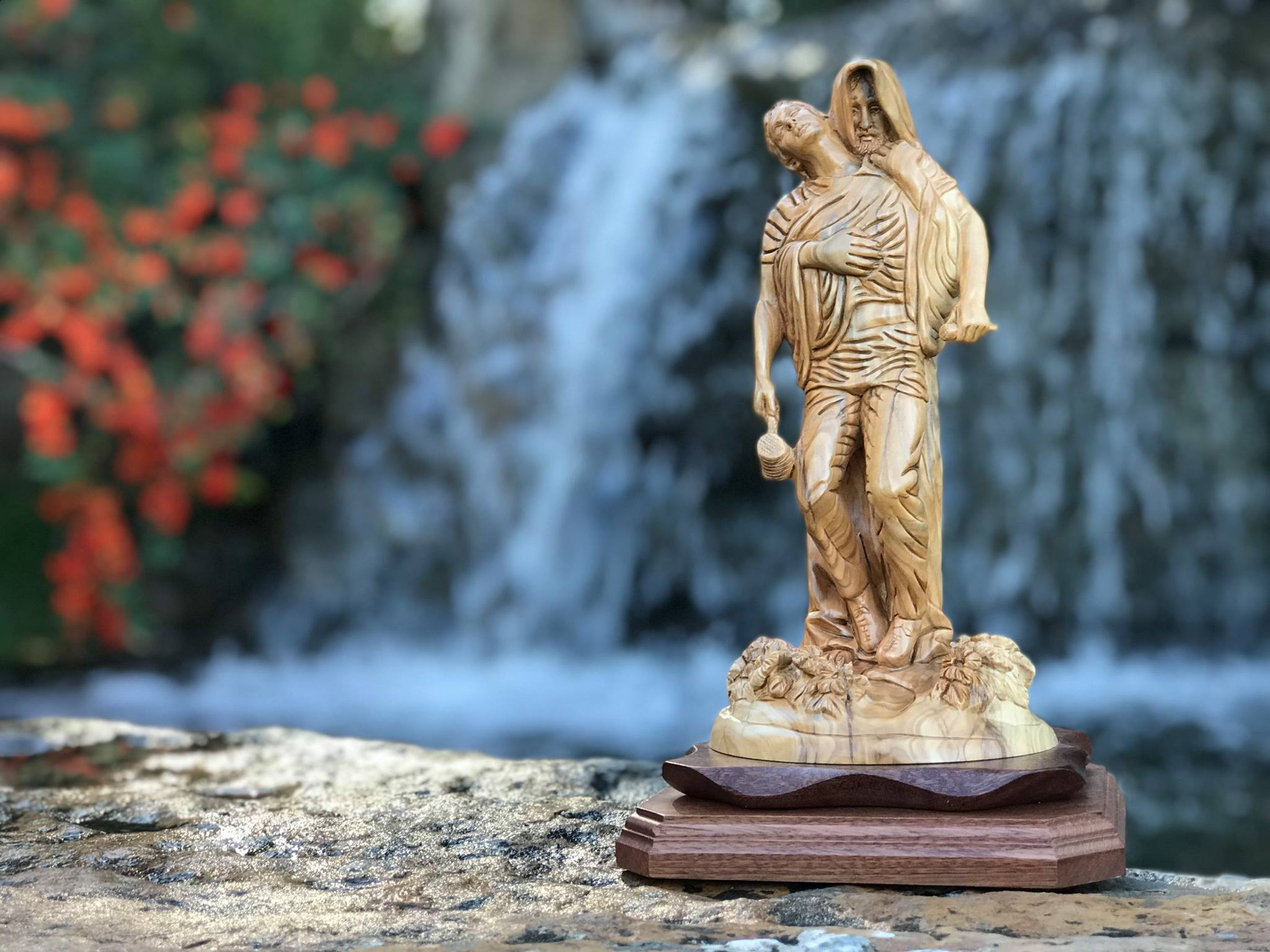 "Hand Carved Olive Wood ""Jesus' Forgiveness"" Statue"