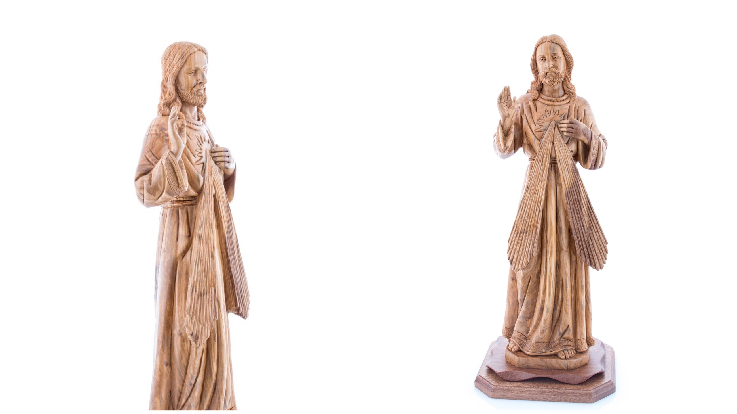 Carved Olive Wood Divine Mercy's Statue