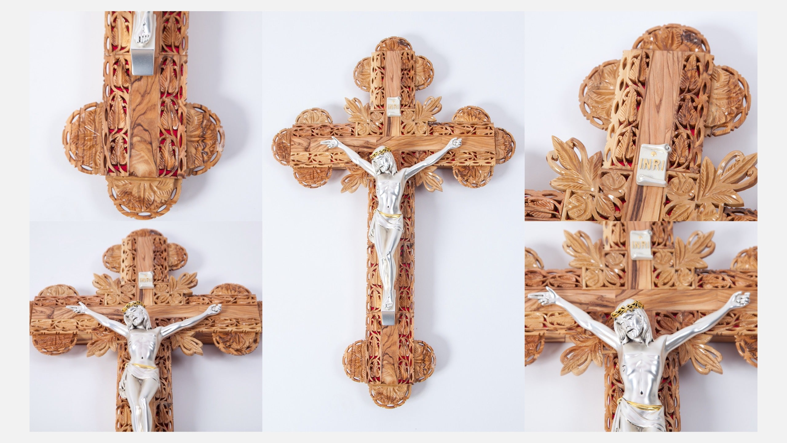 Intricately Hand Carved Olive Wood Crucifix (Gold and Silver Plated Corpus)