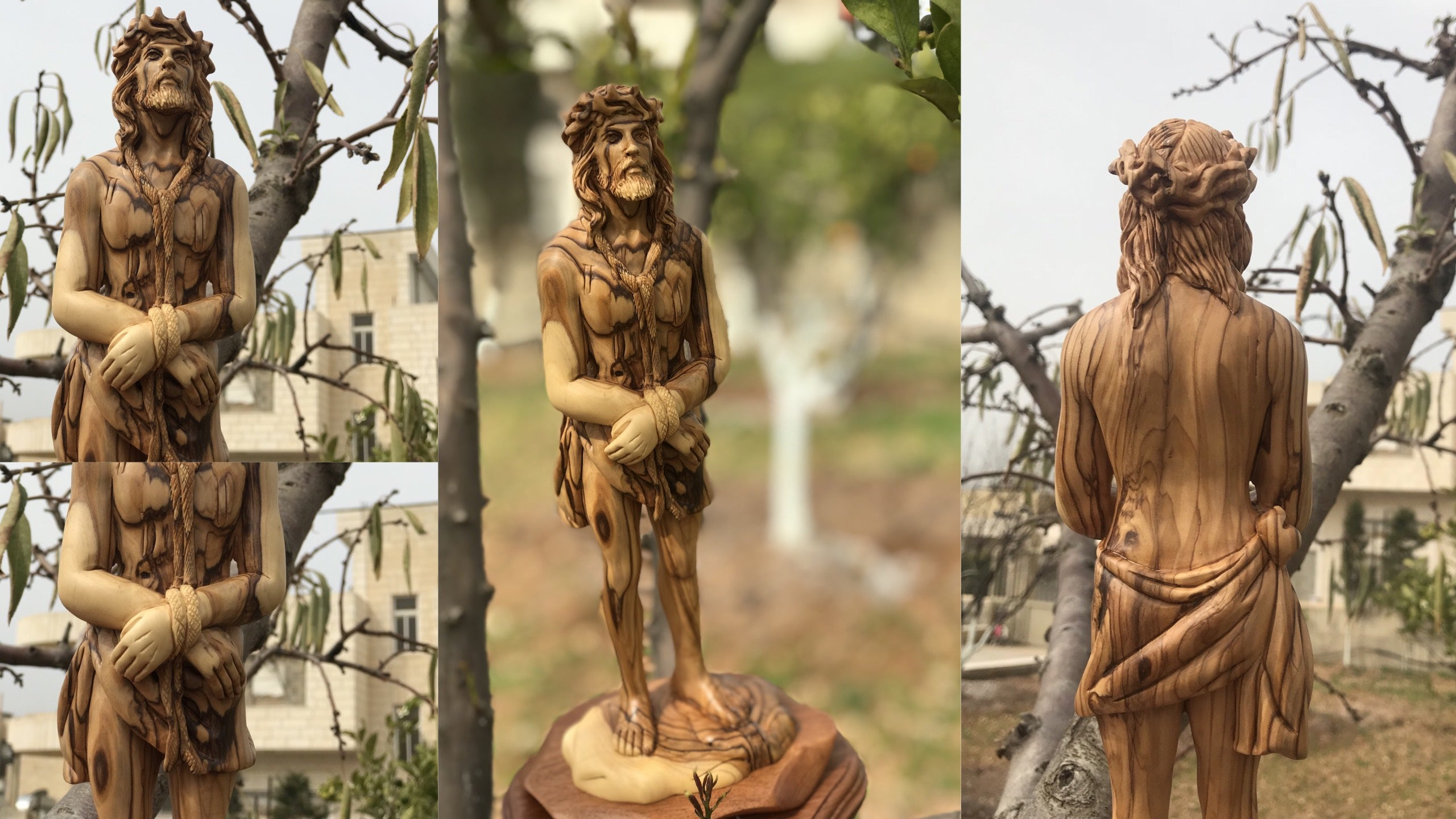 Olive Wood Statue of Christ as the Man of Sorrows