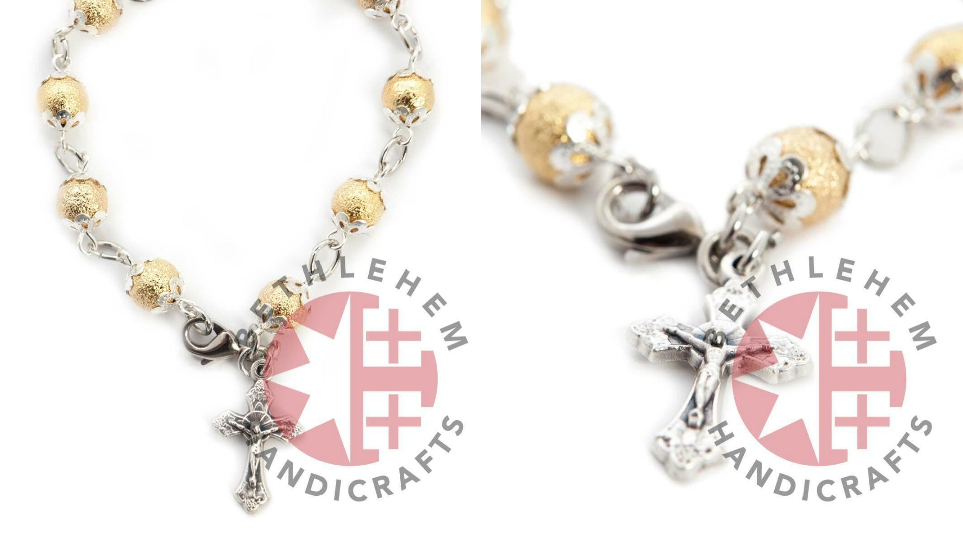 Gold Plated Beads Jesus on the Cross Rosary Bracelet