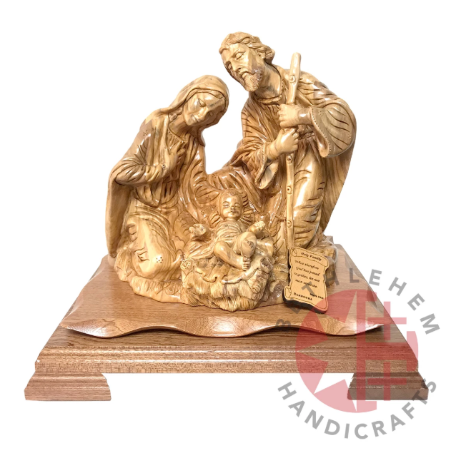 Holy Family One Piece Intricate Olive Wood Statue with Mahogany Base