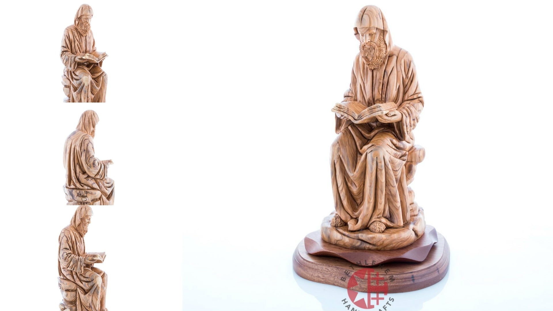 Carved Olive Wood Sitting Saint Charbel Statue