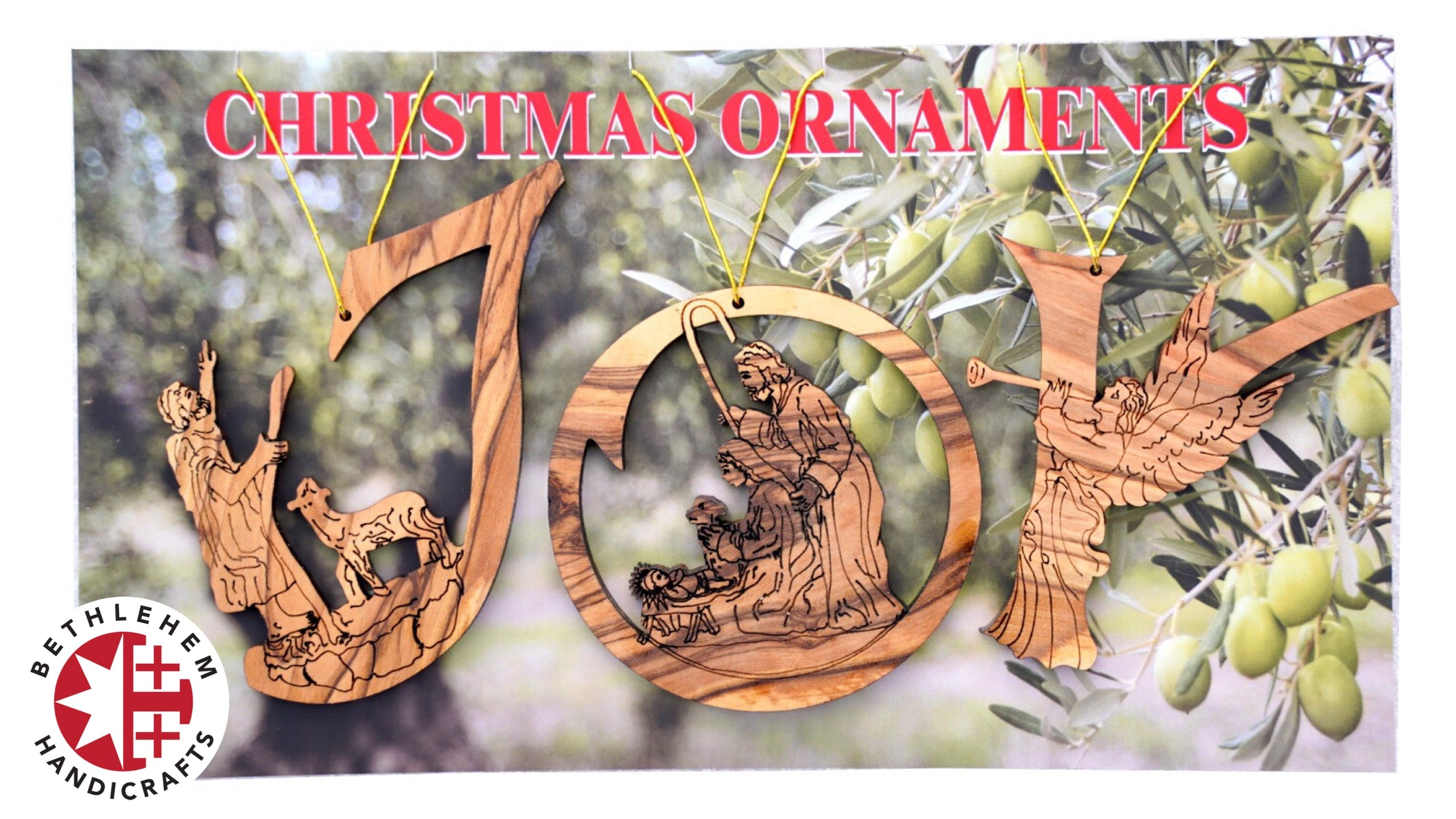 "Olive Wood ""Joy"" with Nativity Christmas Ornament"