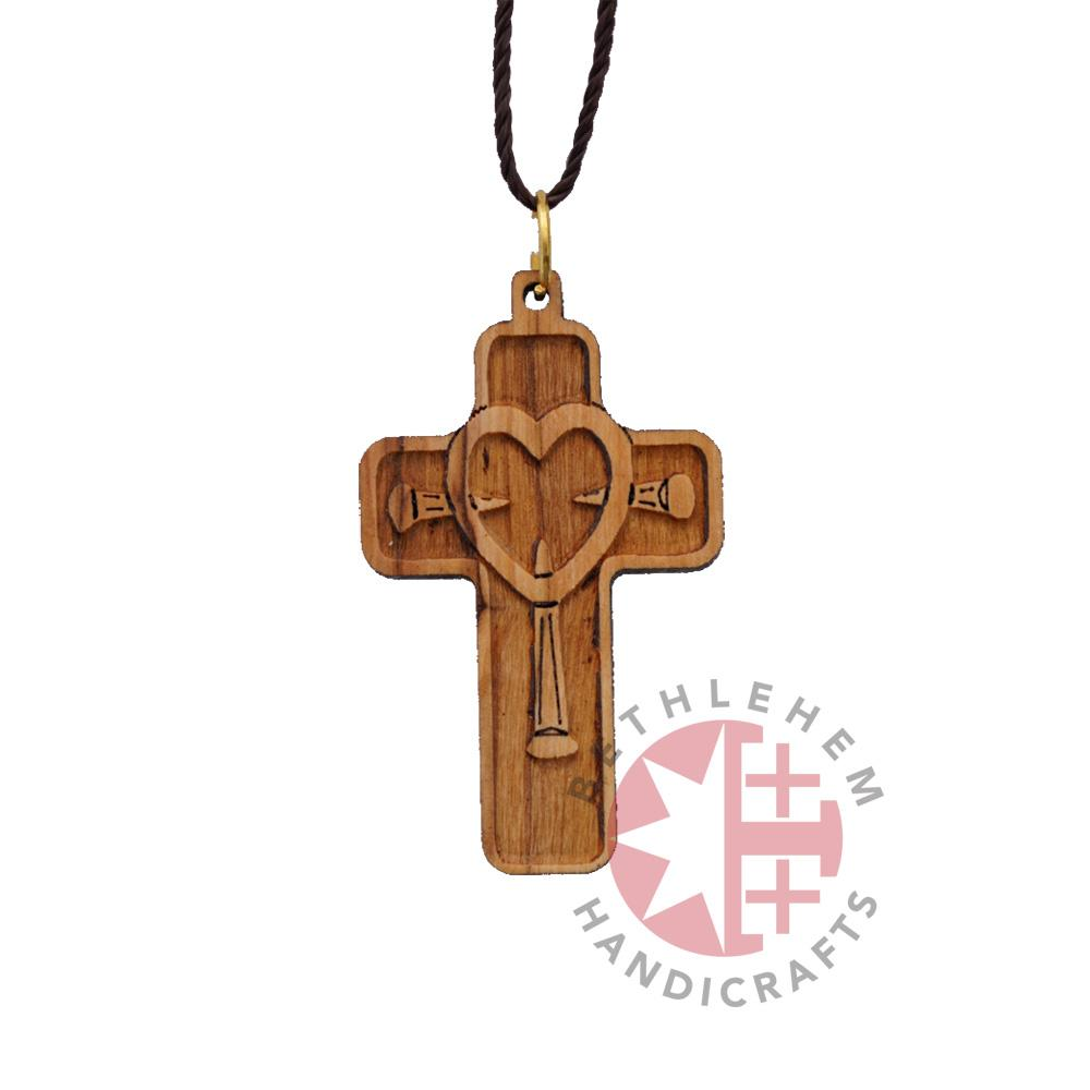 Olive Wood Cross Necklace (Heart and Nails)