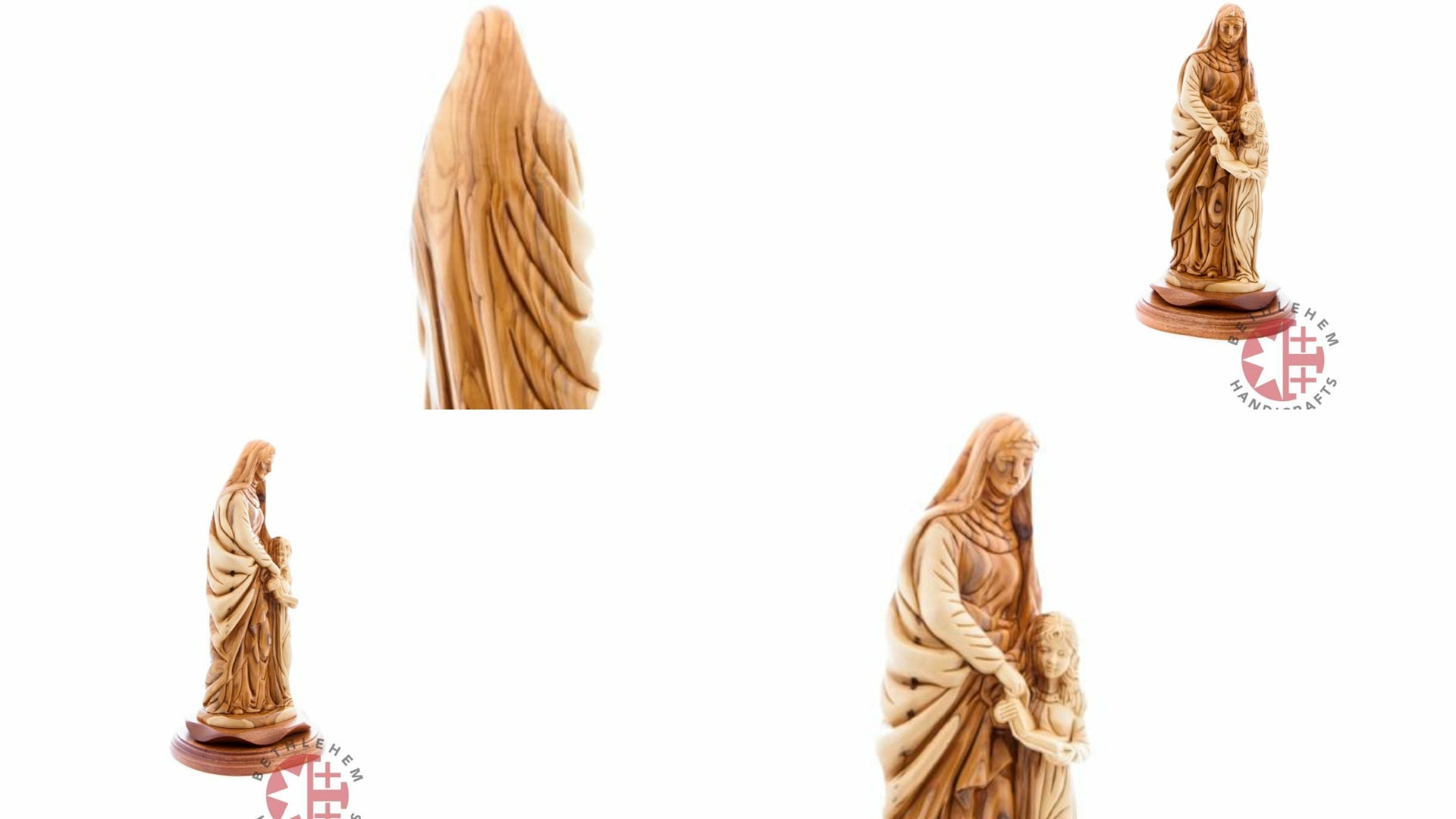 Good Saint Anne with Young Virgin Mary Hand Carved Olive Wood Statue
