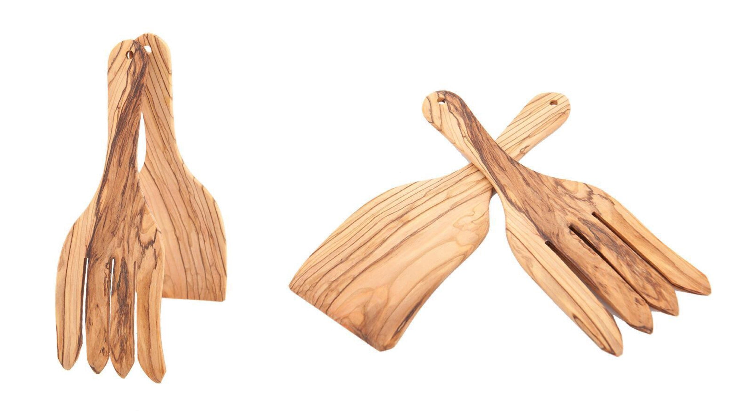 Olive Wood 2 Pieces Salad Serving Set (Fork and Spatula)