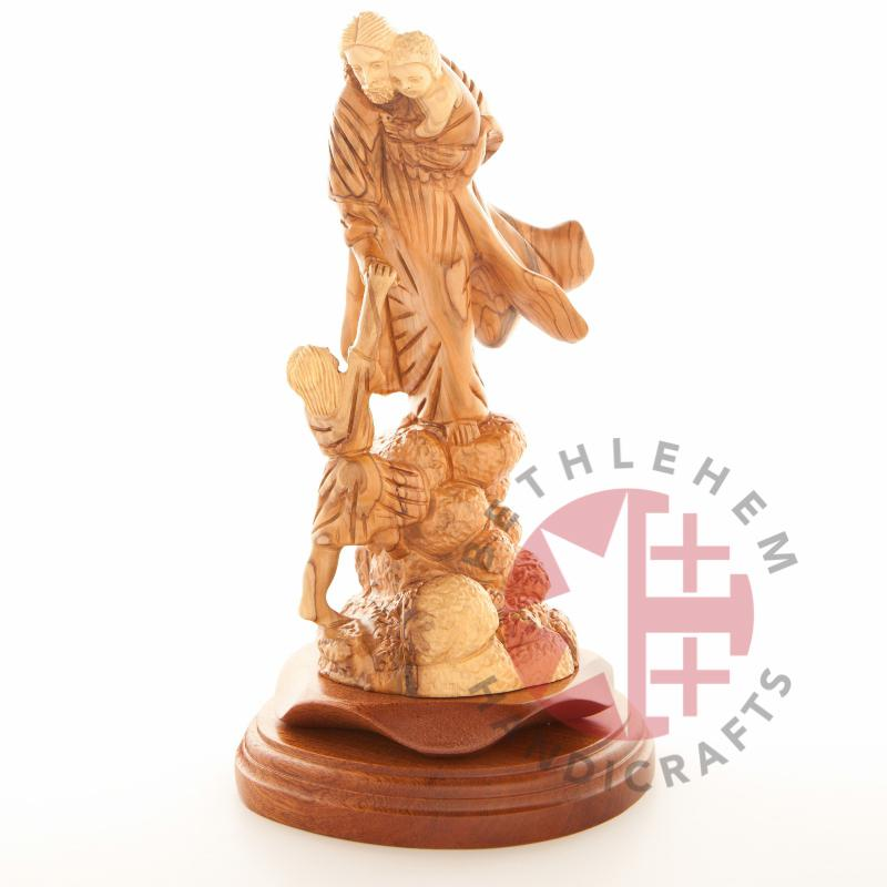 Olive Wood Carved Jesus With The Children