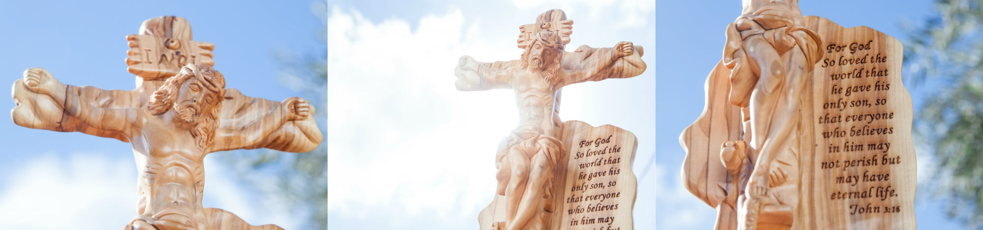 Olive Wood Crucifixion Statue with the Scripture of (John 3:16)