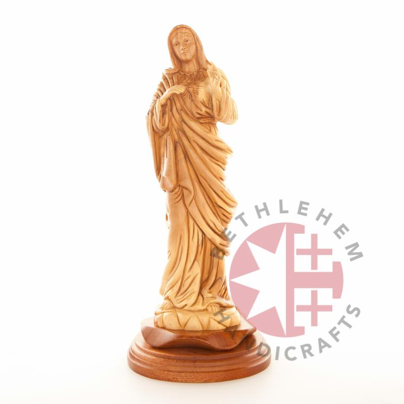 Olive Wood Immaculate Heart of Mary Statue