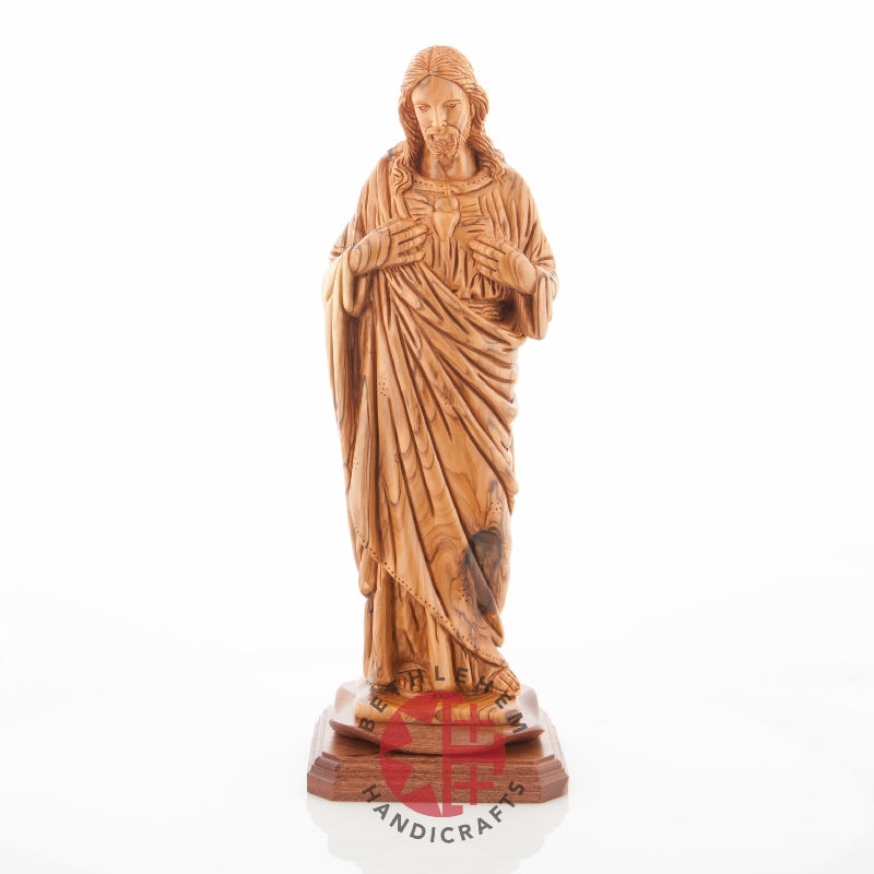 "Olive Wood ""Sacred Heart of Jesus"" Statue"