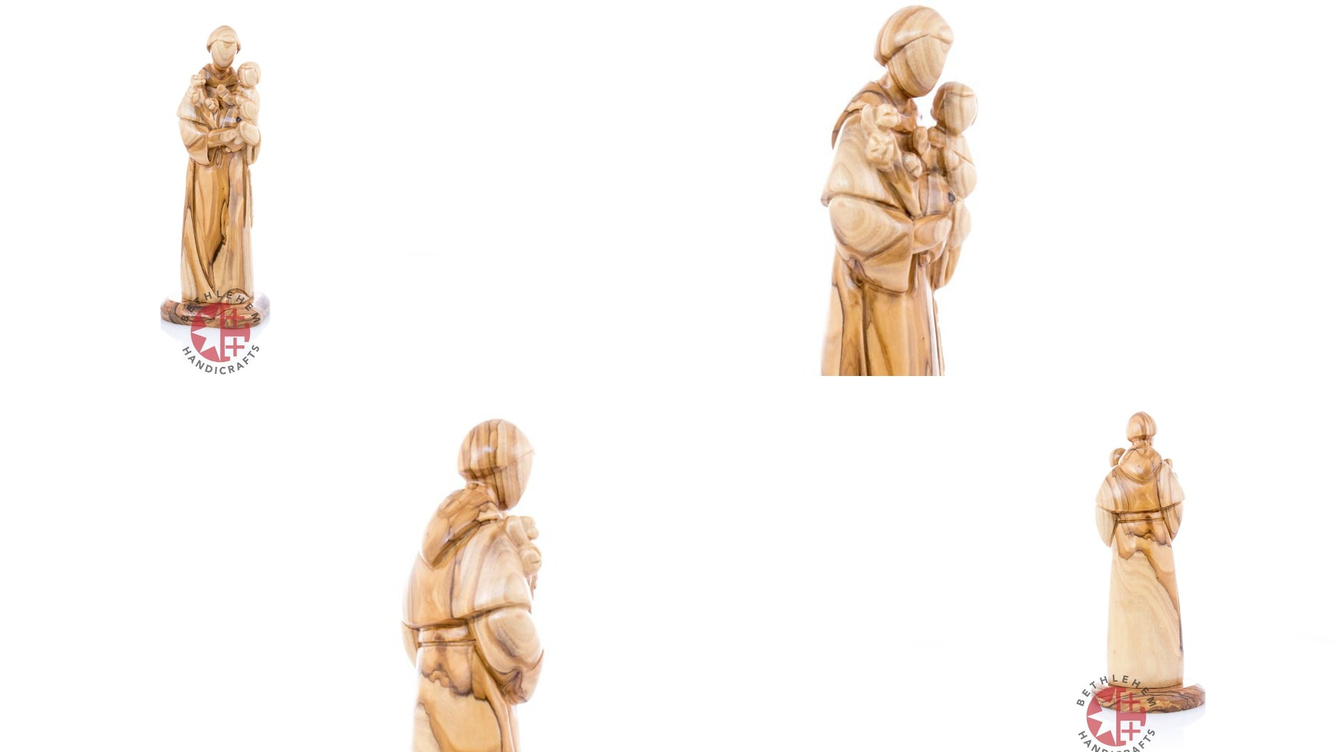 Olive Wood Saint Anthony holding the baby Jesus