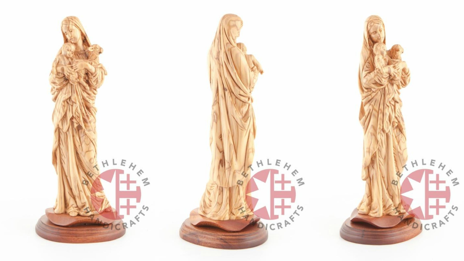 Olive Wood Virgin Mary With Child and Lamb
