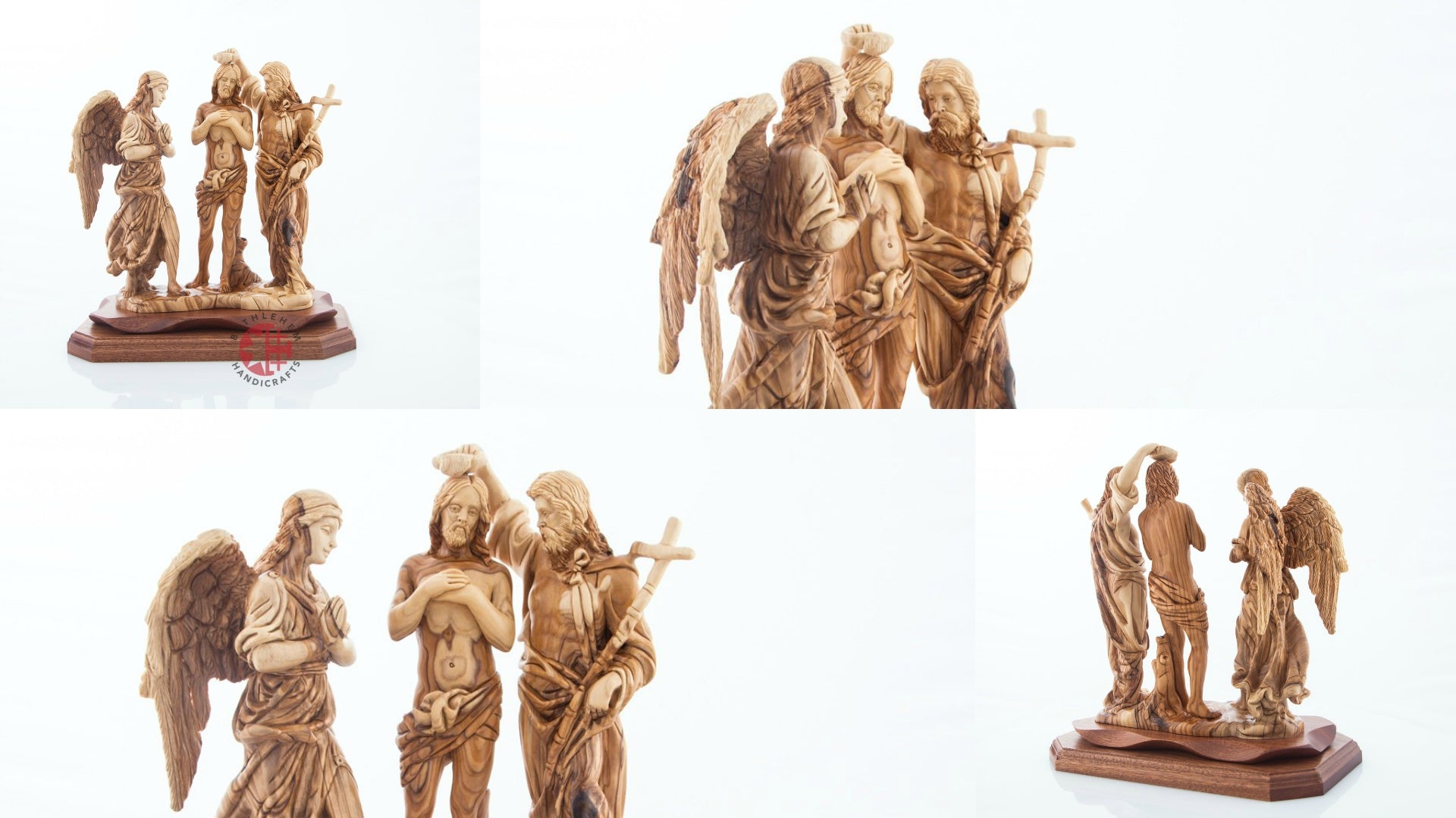 The Baptism of Jesus Hand Carved Wooden Statue