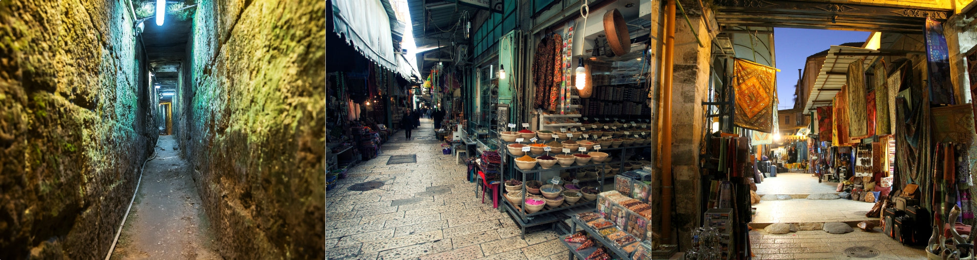 The narrow alleys that lead to Temple Mount and the Souq