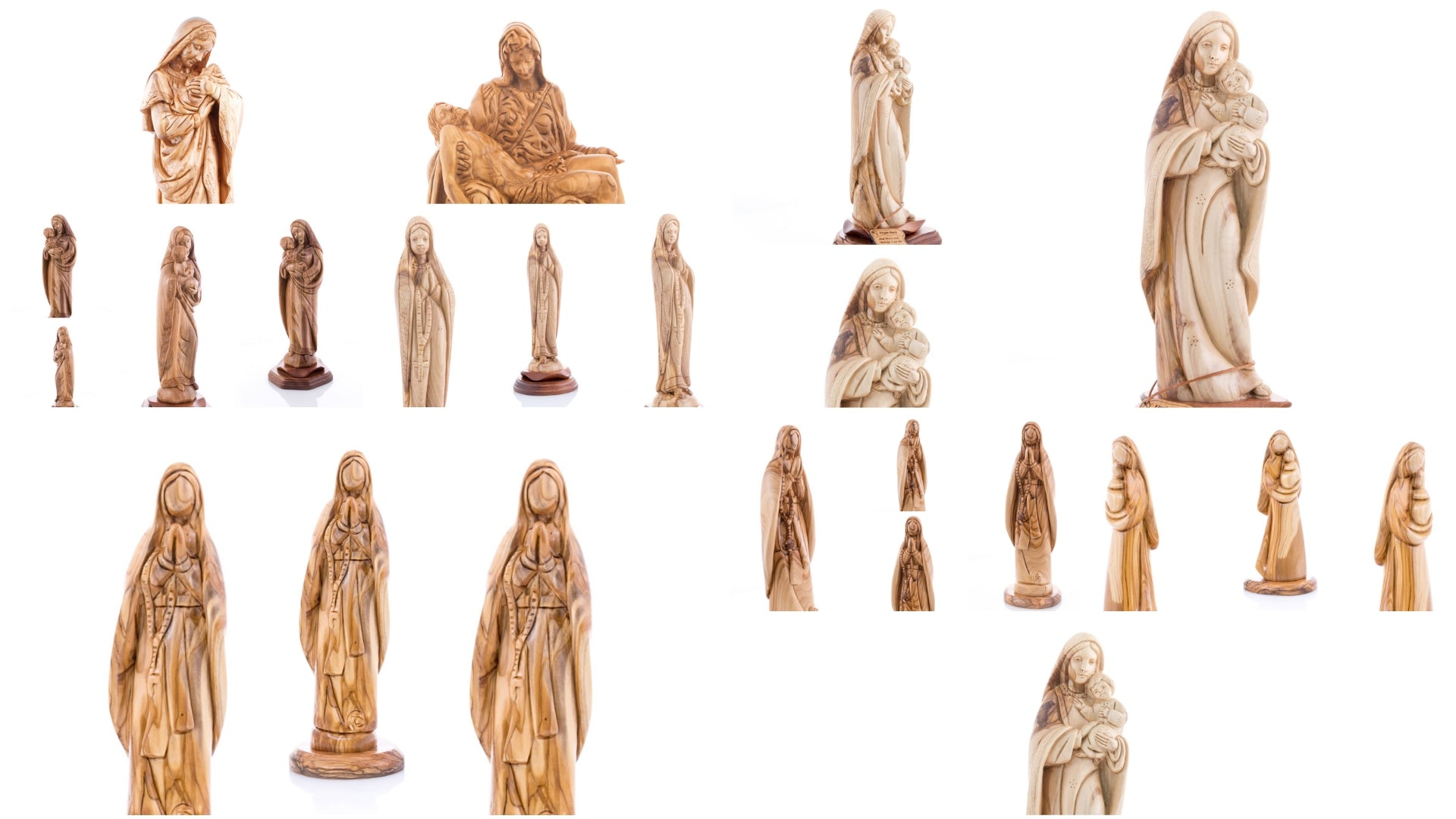 Olive Wood Virgin Mary Statues