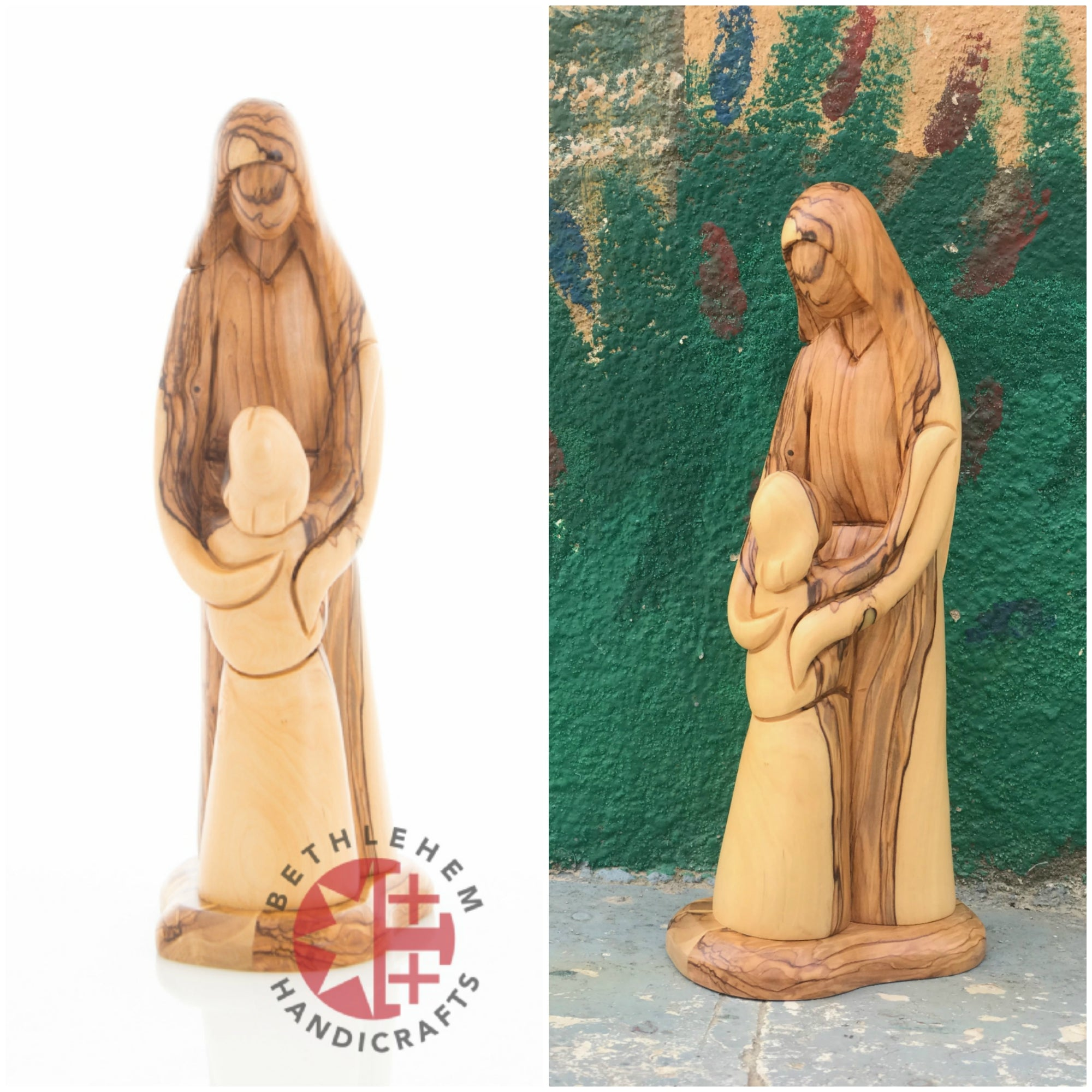 Olive Wood Virgin Mary Hugging Her Son
