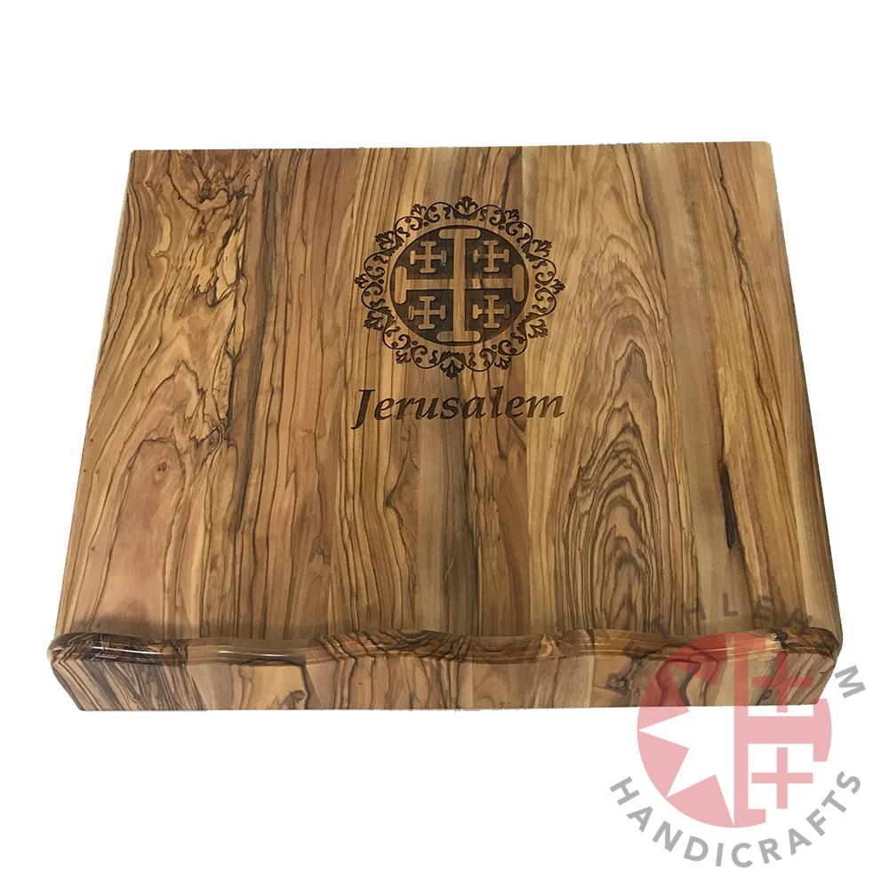 Olive Wood Bible Stand with Jerusalem Cross Graving