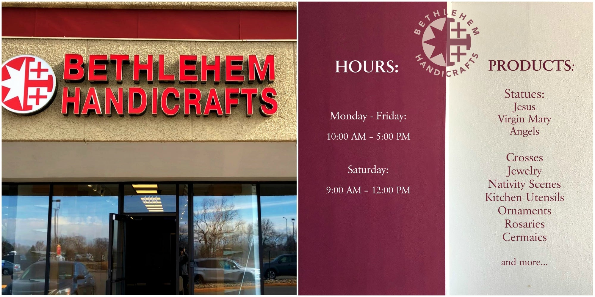Our storefront and working hours