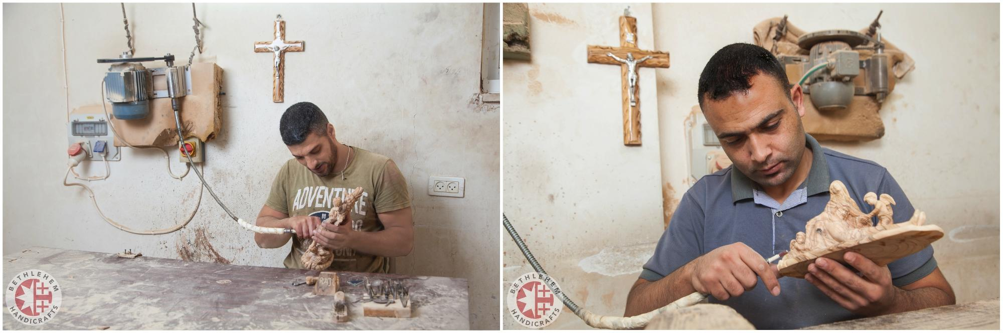 two christian workers carving olive wood